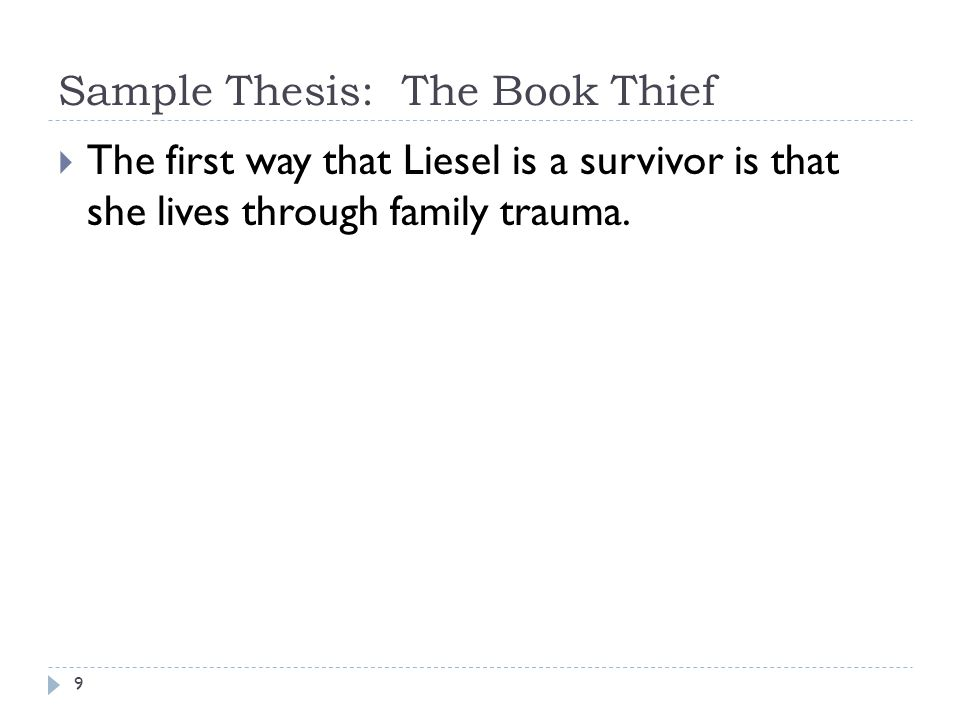 Sample Thesis: The Book Thief