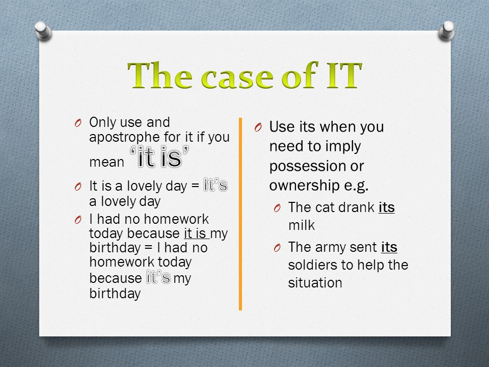 The case of IT Only use and apostrophe for it if you mean 'it is' It is a lovely day = It's a lovely day.