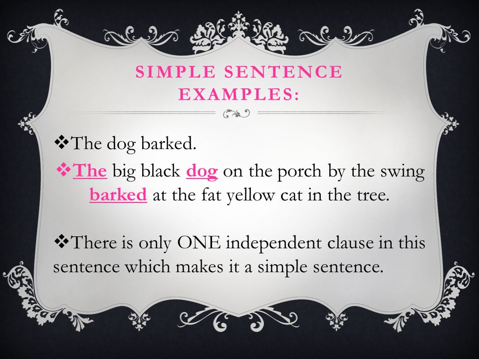 Simple sentence examples: