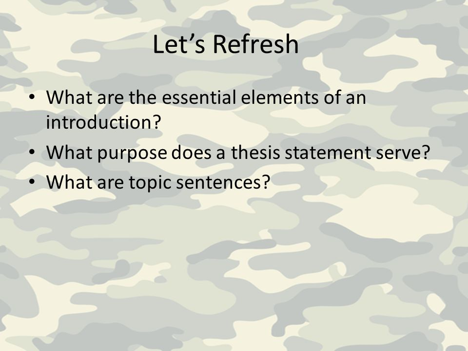 Let's Refresh What are the essential elements of an introduction