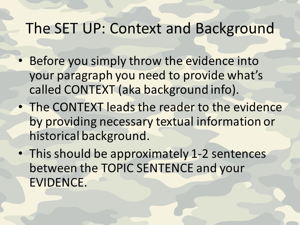 The SET UP: Context and Background