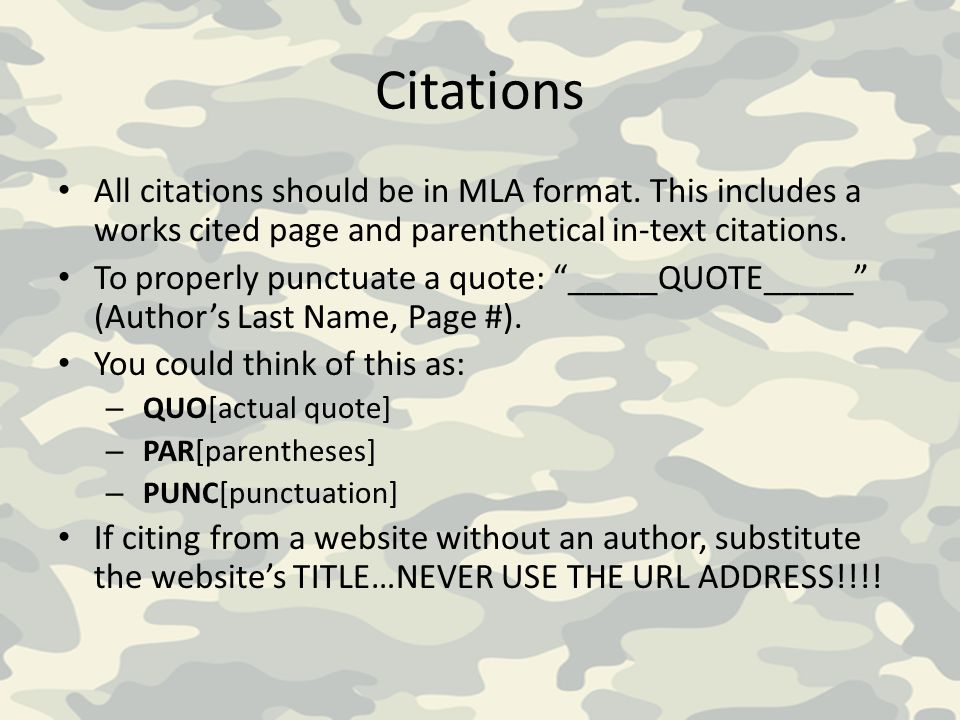 Citations All citations should be in MLA format. This includes a works cited page and parenthetical in-text citations.