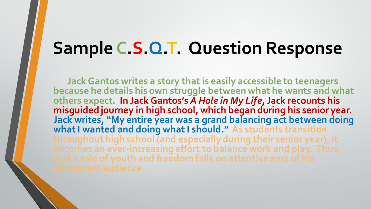 Sample C.S.Q.T. Question Response