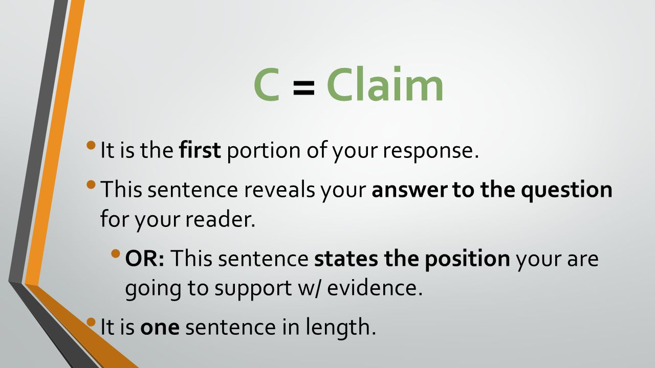 C = Claim It is the first portion of your response.