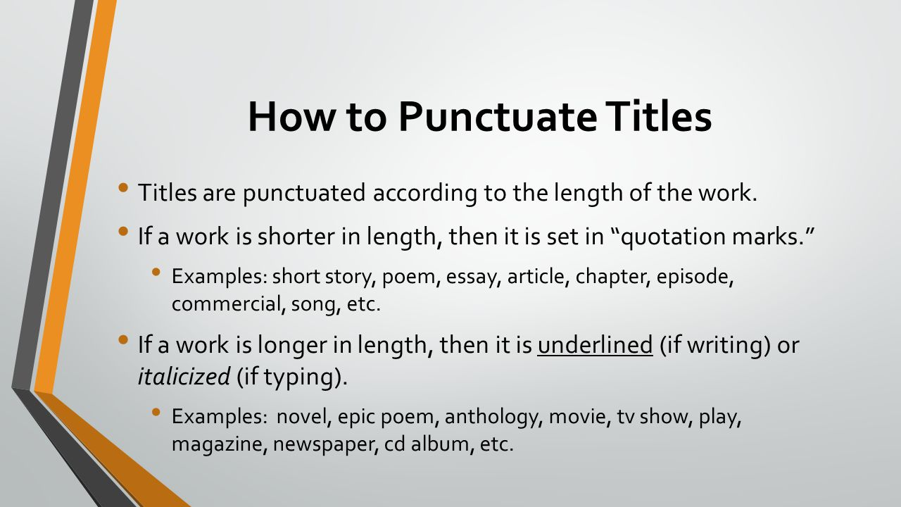 How to Punctuate Titles