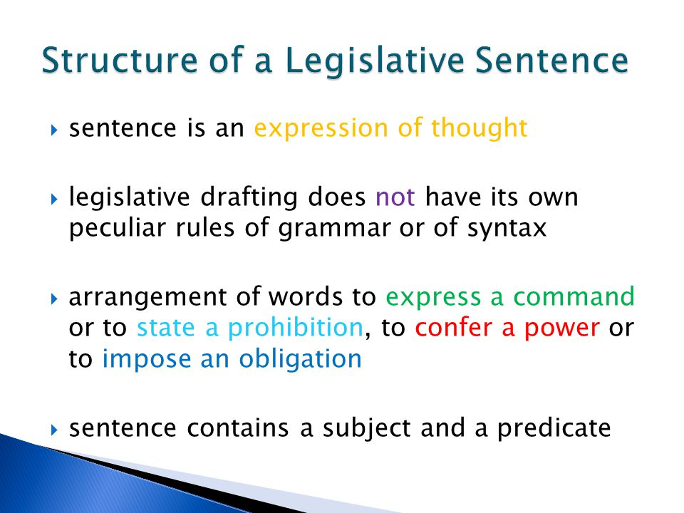 Structure of a Legislative Sentence