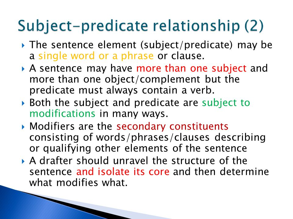 Subject-predicate relationship (2)