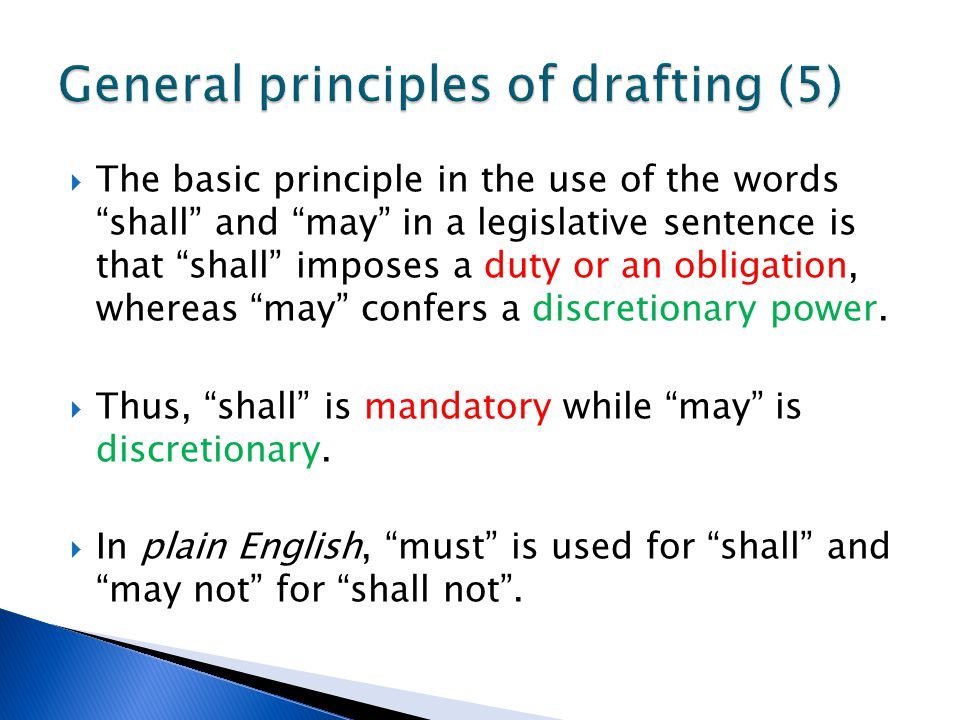 General principles of drafting (5)