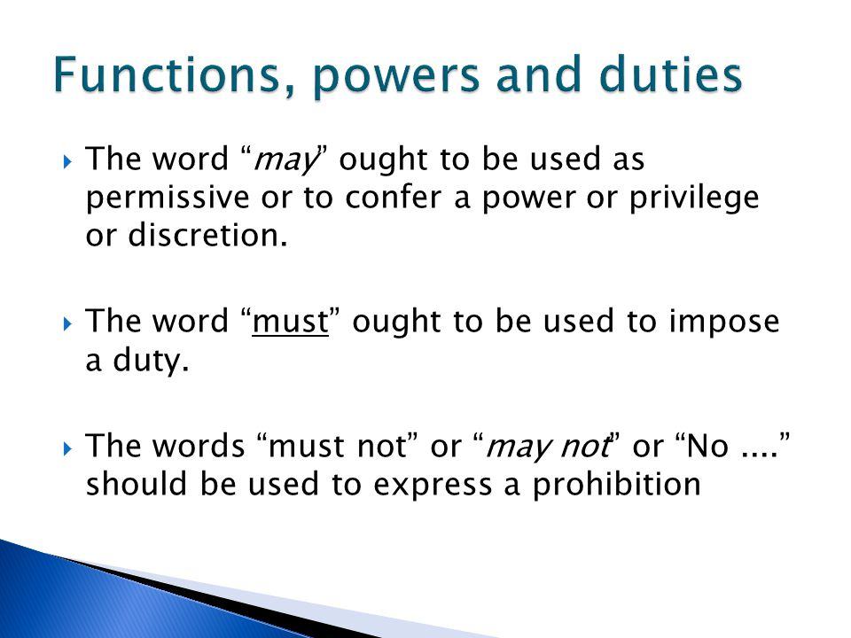 Functions, powers and duties