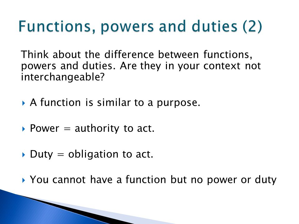 Functions, powers and duties (2)