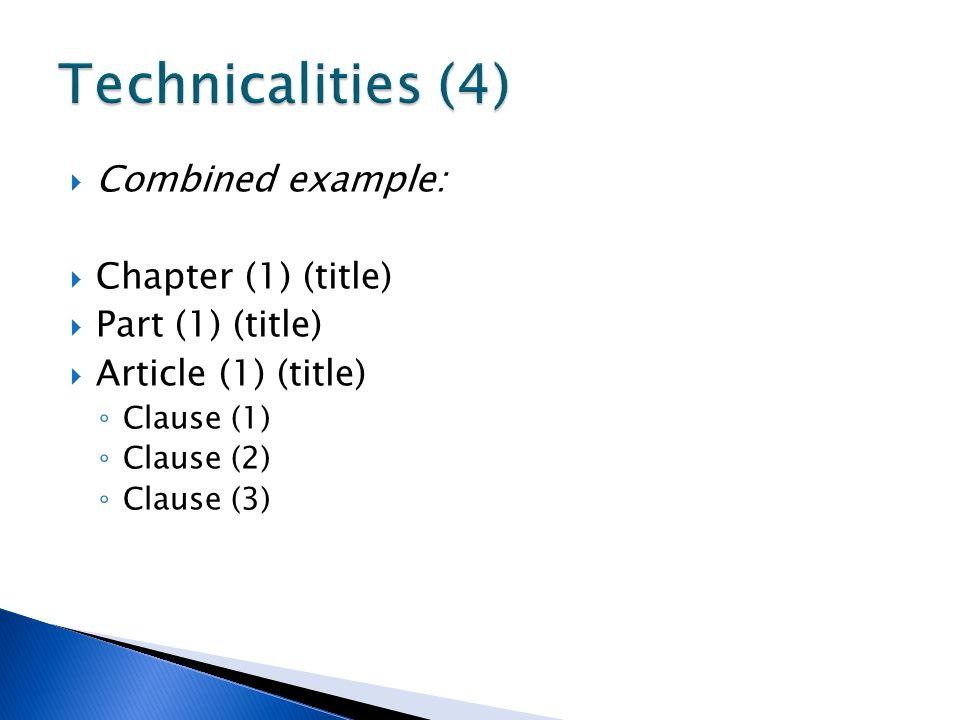 Technicalities (4) Combined example: Chapter (1) (title)