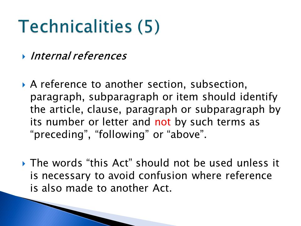 Technicalities (5) Internal references