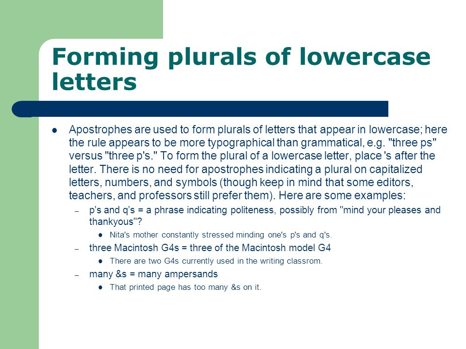 Forming plurals of lowercase letters
