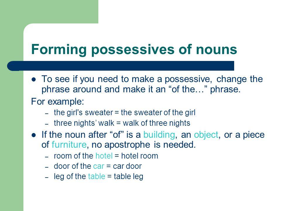 Forming possessives of nouns