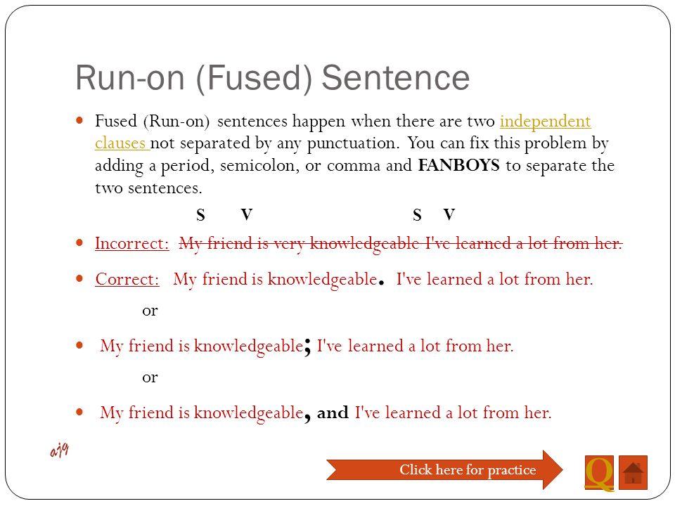 Run-on (Fused) Sentence