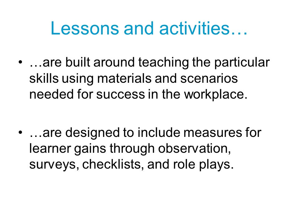 Lessons and activities…