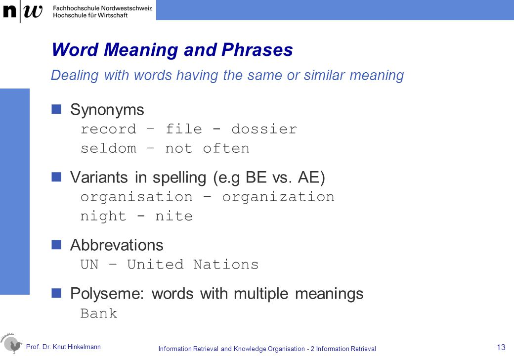 Word Meaning and Phrases