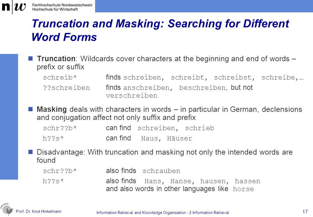 Truncation and Masking: Searching for Different Word Forms