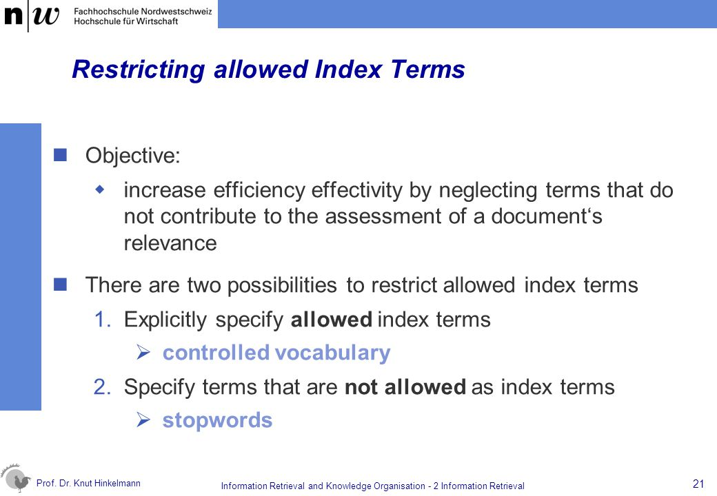 Restricting allowed Index Terms