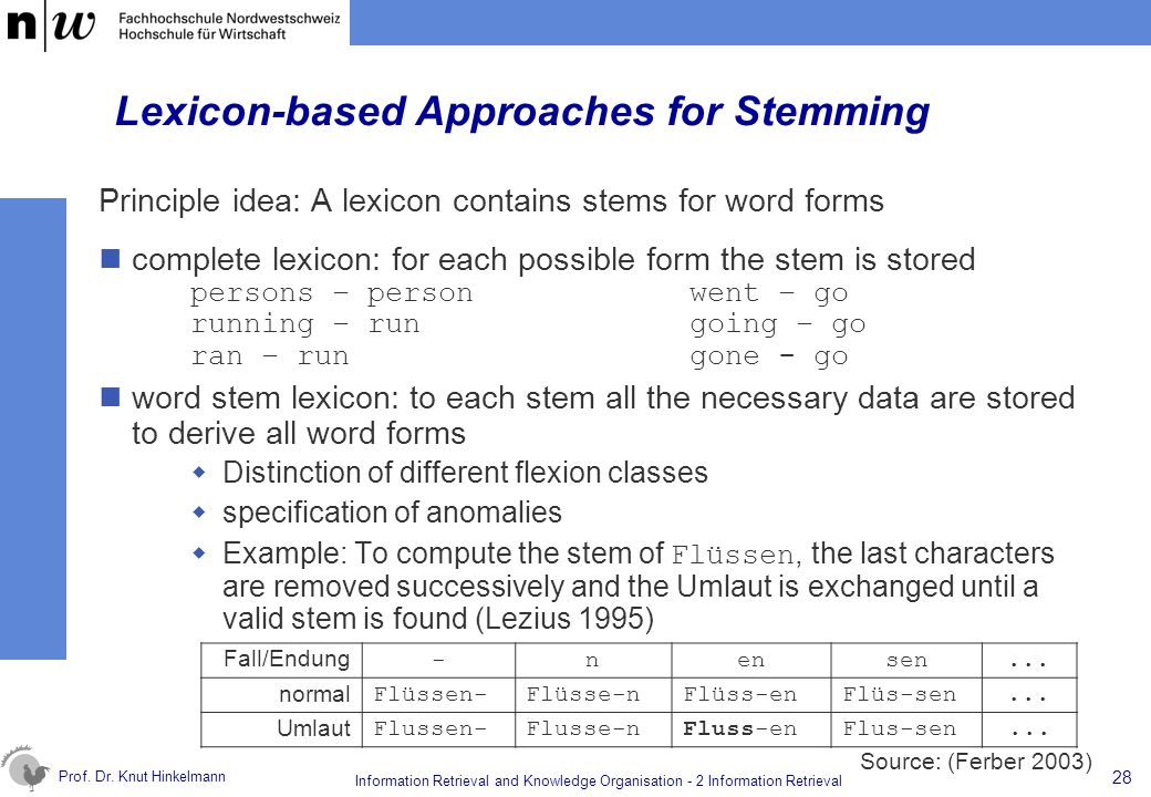 Lexicon-based Approaches for Stemming
