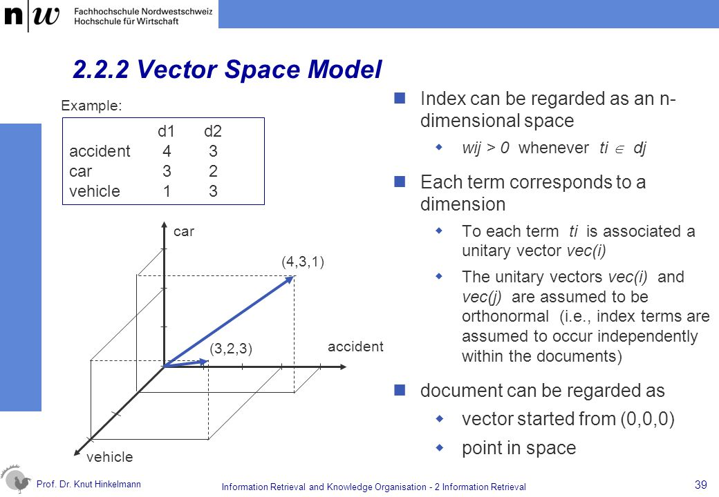 2.2.2 Vector Space Model Index can be regarded as an n- dimensional space. wij > 0 whenever ti  dj.