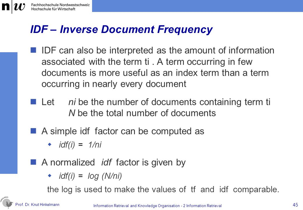 IDF – Inverse Document Frequency