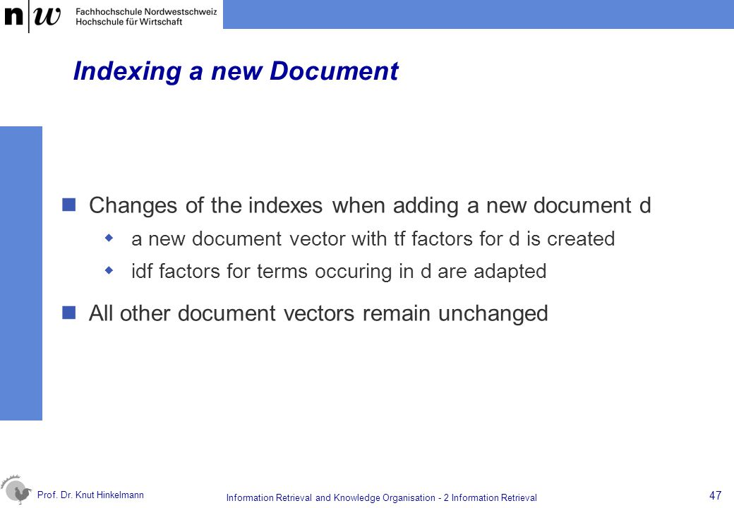 Indexing a new Document