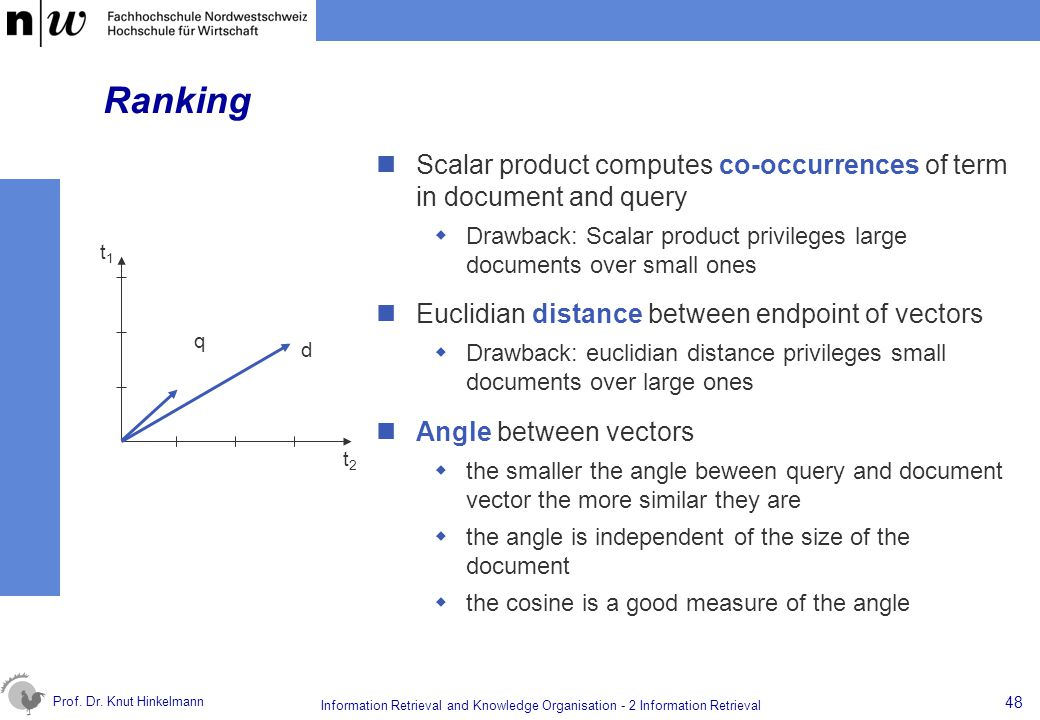 Ranking Scalar product computes co-occurrences of term in document and query. Drawback: Scalar product privileges large documents over small ones.