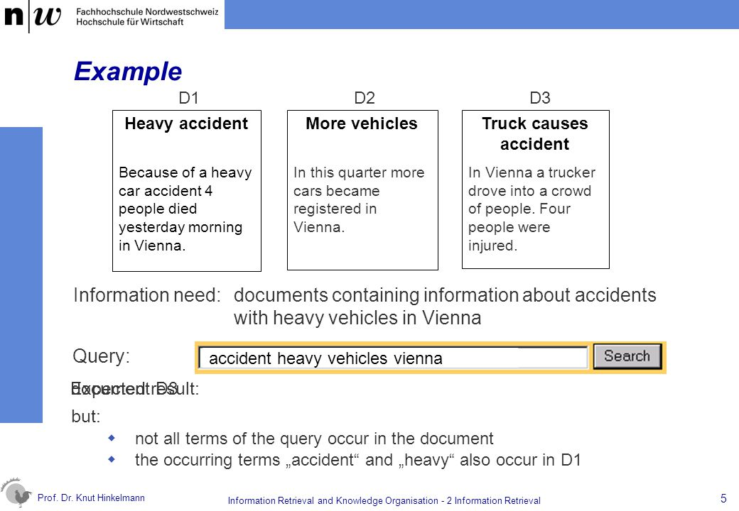 Example D1. D2. D3. Heavy accident. Because of a heavy car accident 4 people died yesterday morning in Vienna.