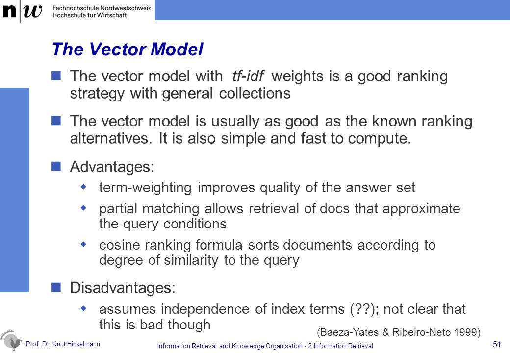 The Vector Model The vector model with tf-idf weights is a good ranking strategy with general collections.