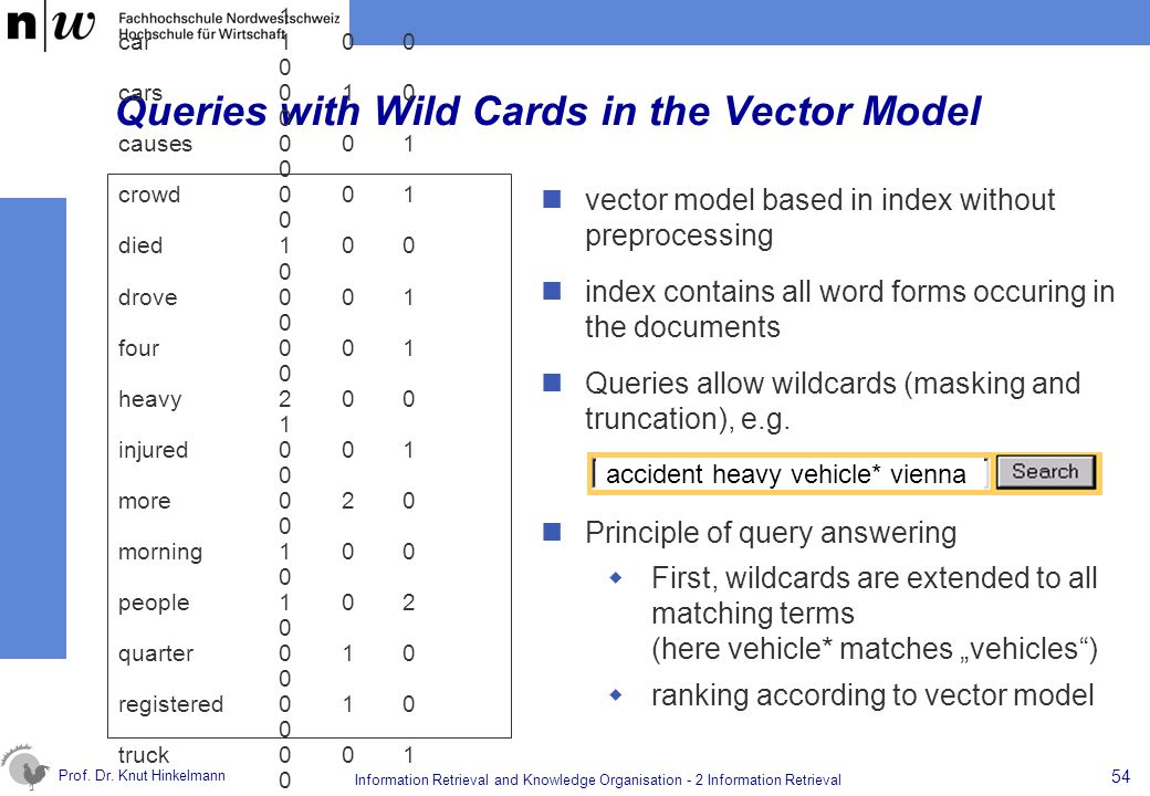 Queries with Wild Cards in the Vector Model