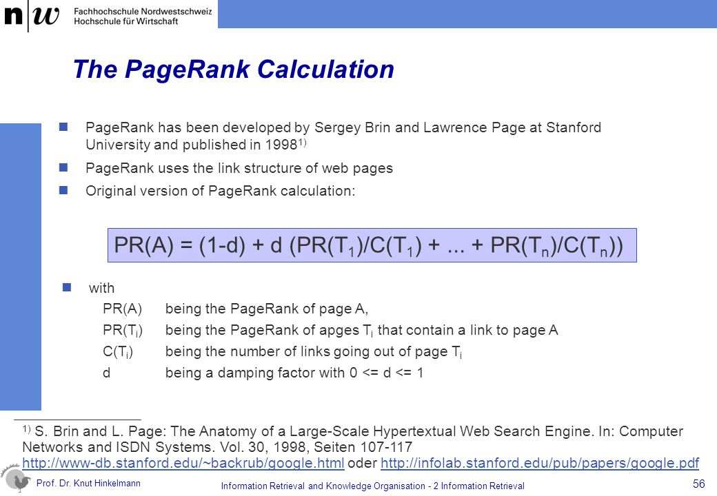 The PageRank Calculation