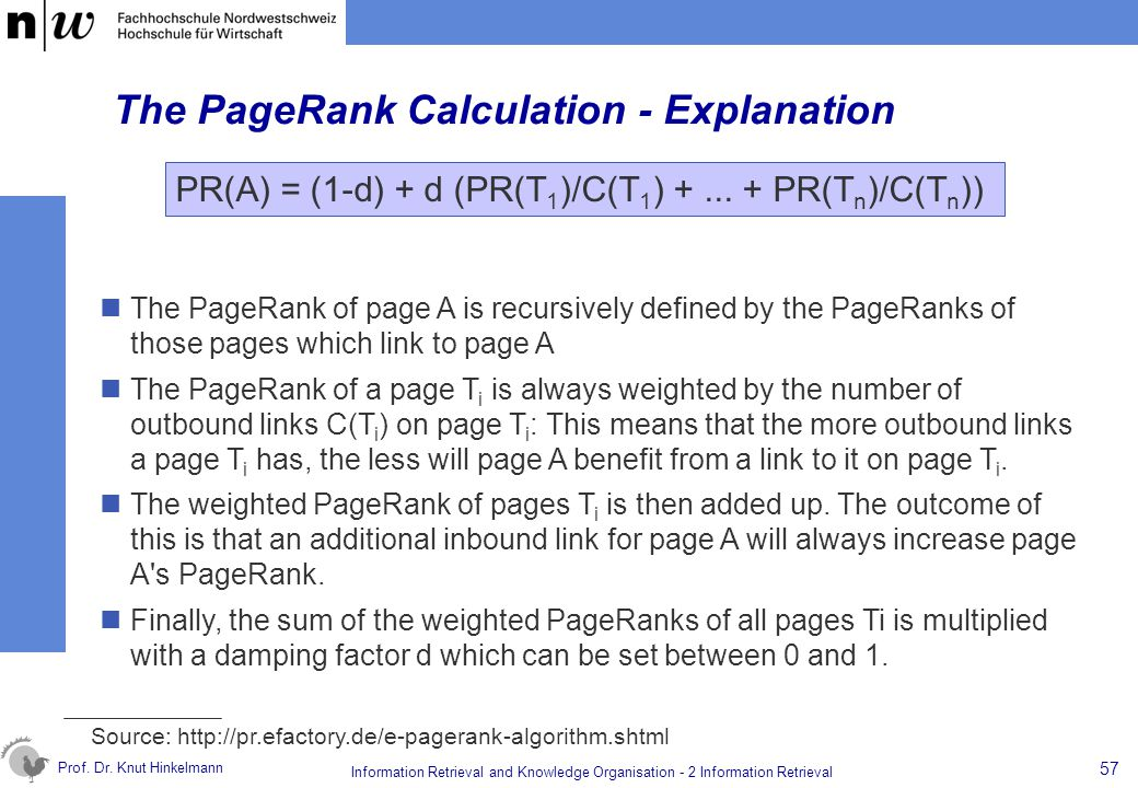 The PageRank Calculation - Explanation