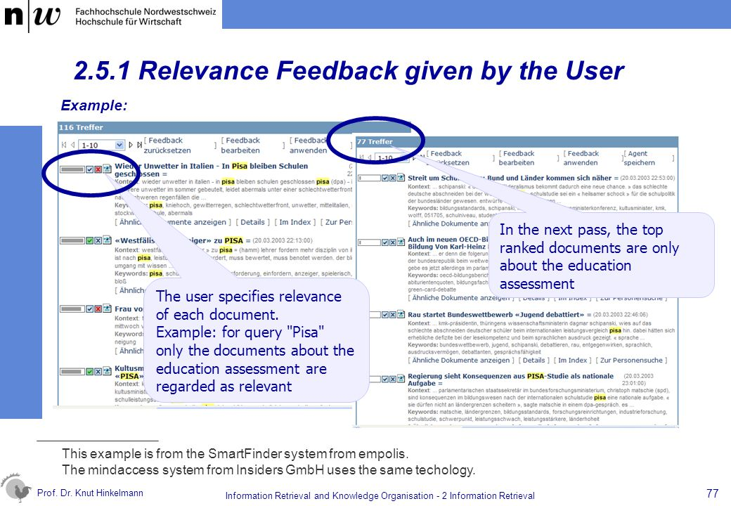 2.5.1 Relevance Feedback given by the User