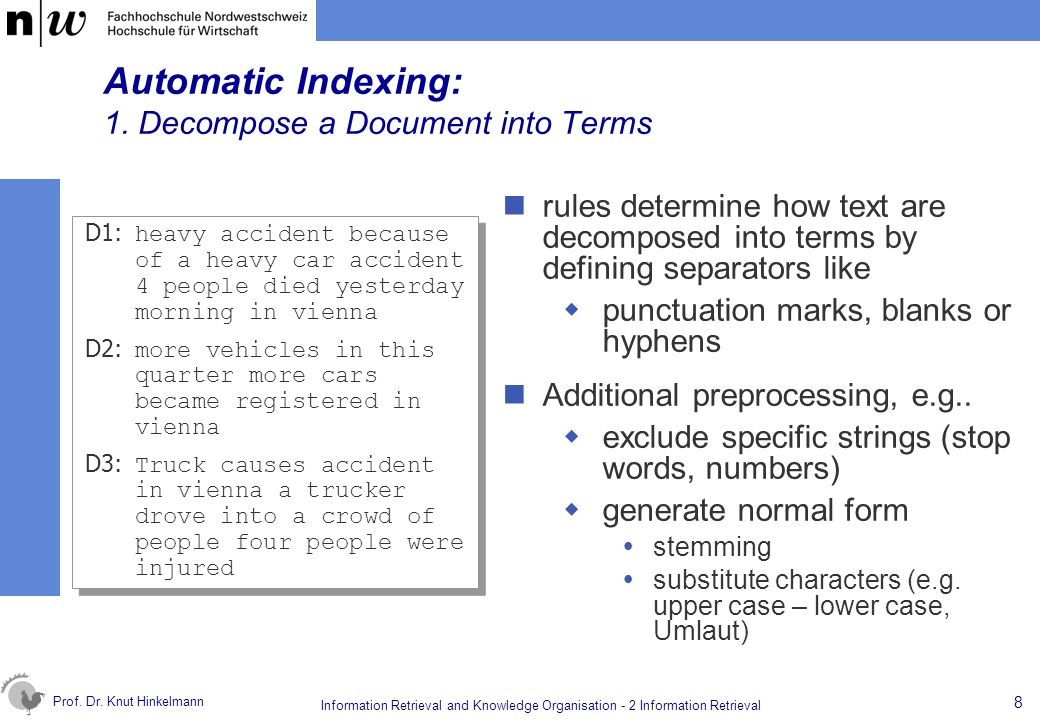 Automatic Indexing: 1. Decompose a Document into Terms