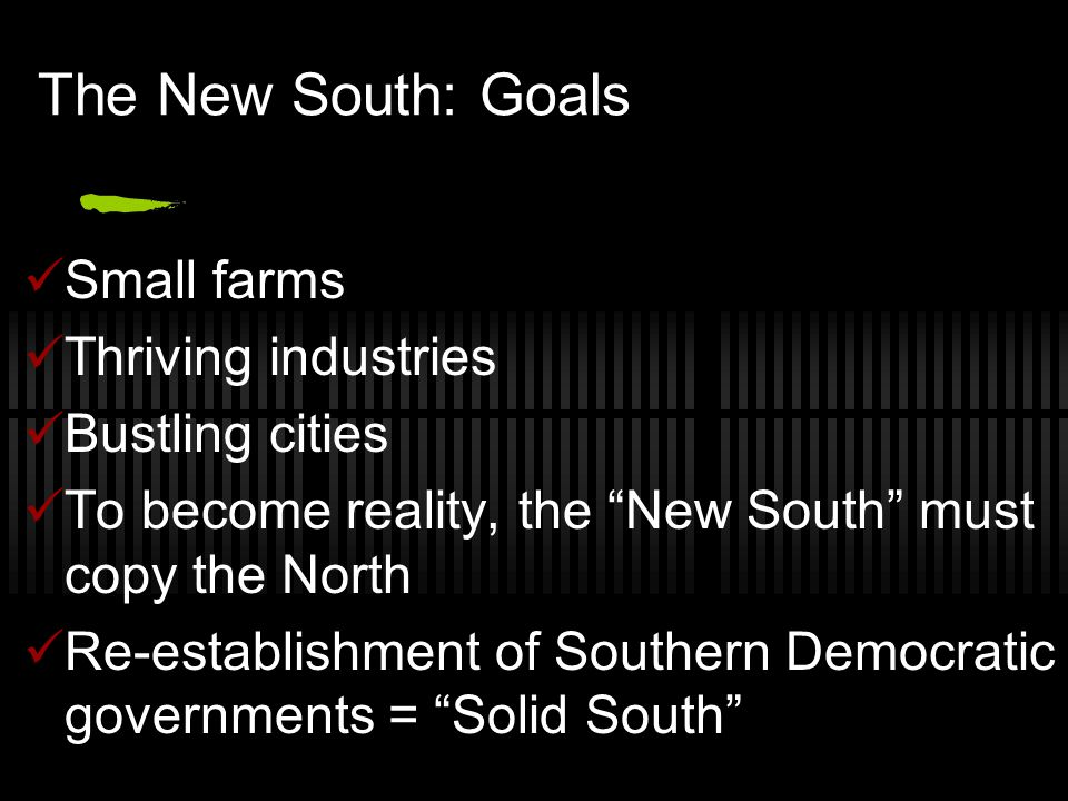 The New South: Goals Small farms Thriving industries Bustling cities