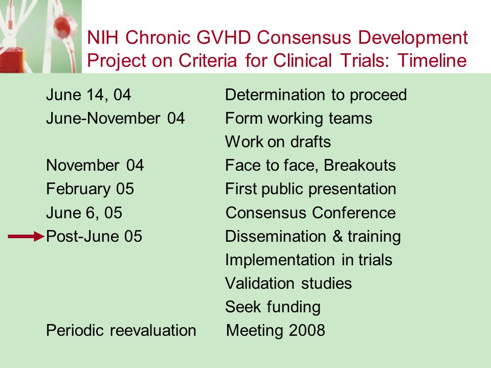 NIH Chronic GVHD Consensus Development Project on Criteria for Clinical Trials: Timeline