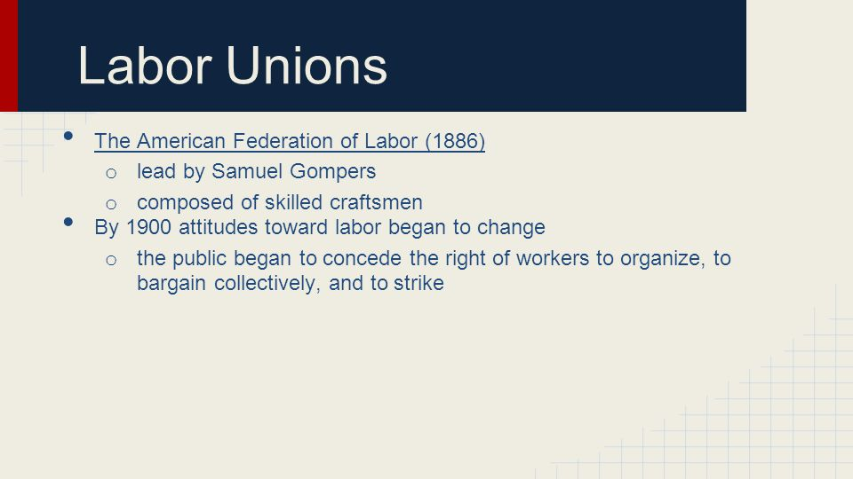 Labor Unions The American Federation of Labor (1886)