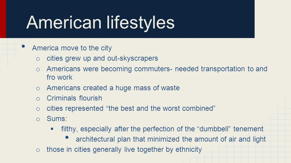 American lifestyles America move to the city