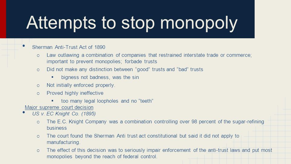 Attempts to stop monopoly