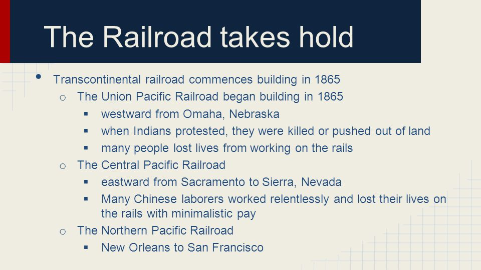 The Railroad takes hold