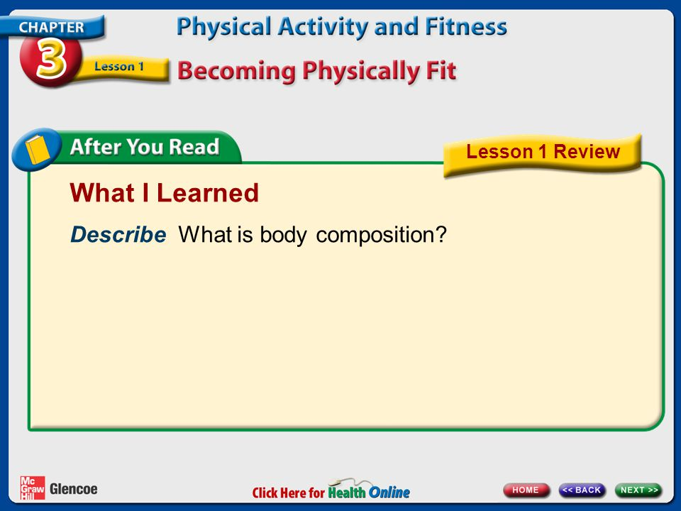 What I Learned Describe What is body composition Lesson 1 Review