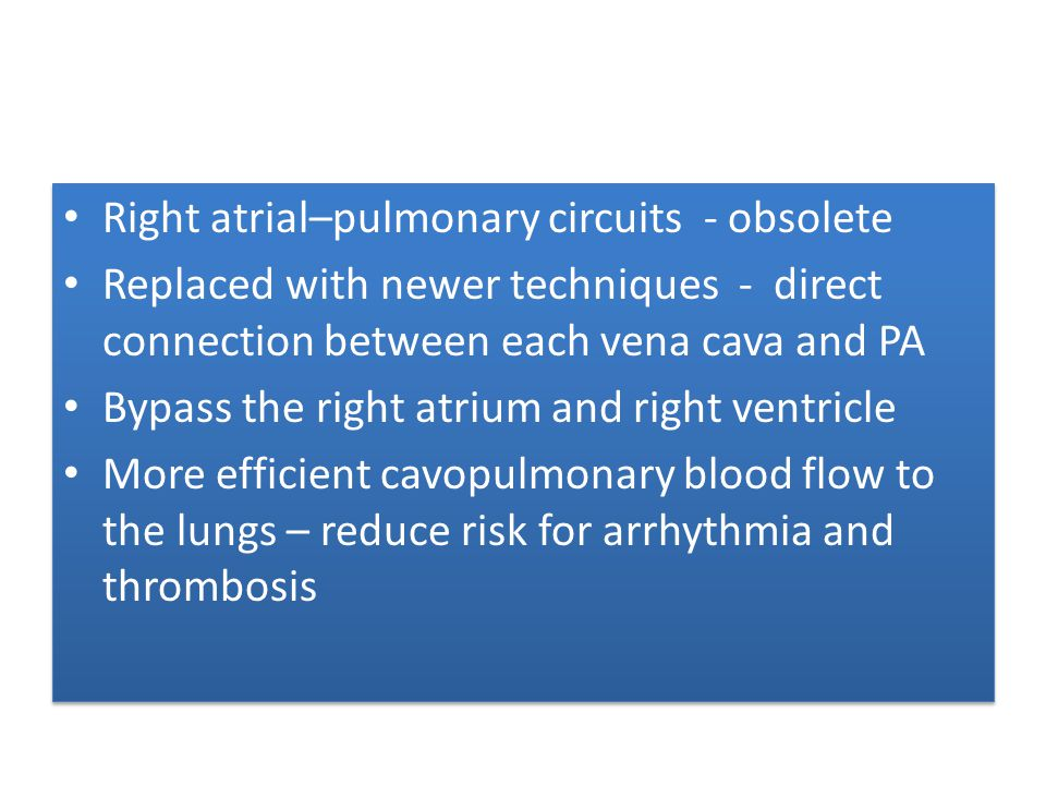 Right atrial–pulmonary circuits - obsolete