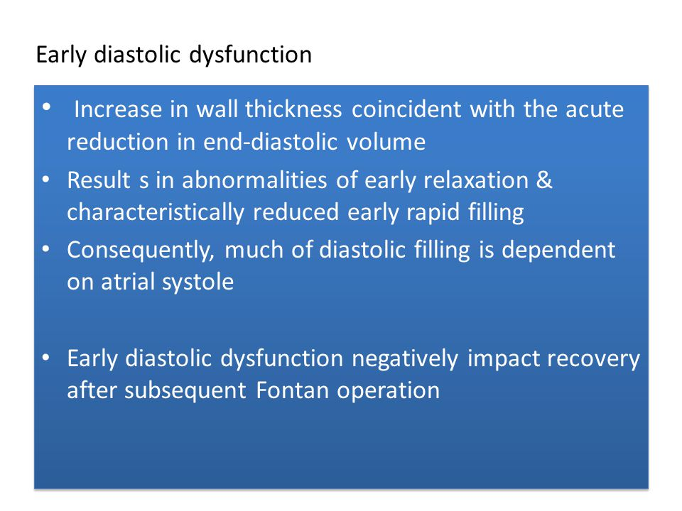 Early diastolic dysfunction