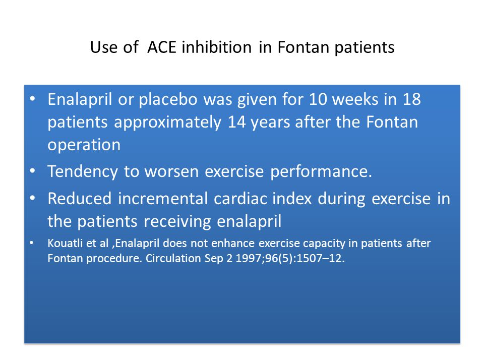 Use of ACE inhibition in Fontan patients