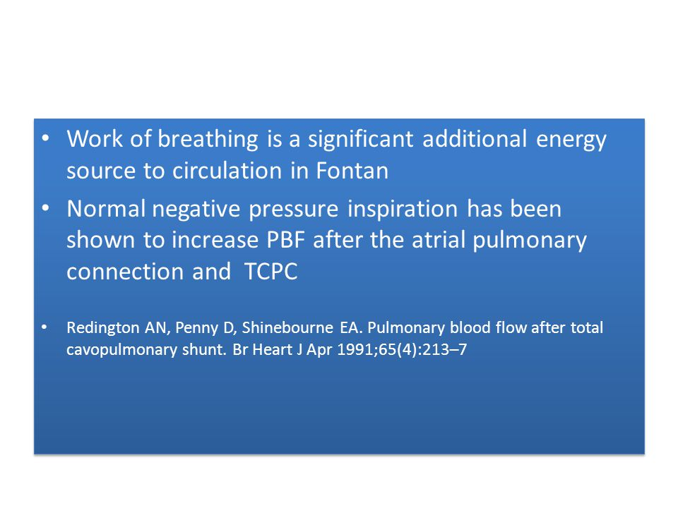 Work of breathing is a significant additional energy source to circulation in Fontan