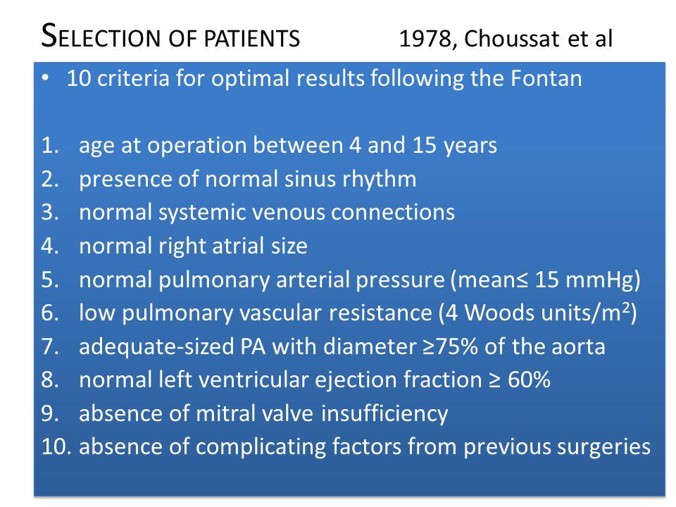SELECTION OF PATIENTS 1978, Choussat et al
