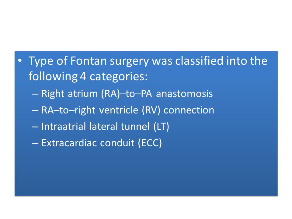 Type of Fontan surgery was classified into the following 4 categories: