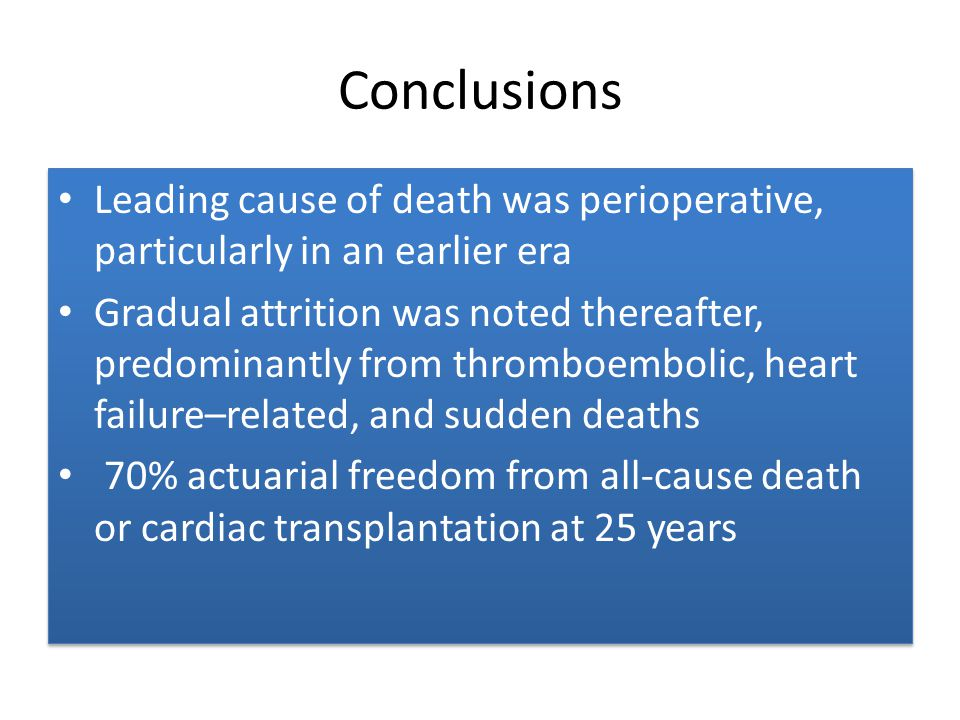 Conclusions Leading cause of death was perioperative, particularly in an earlier era.