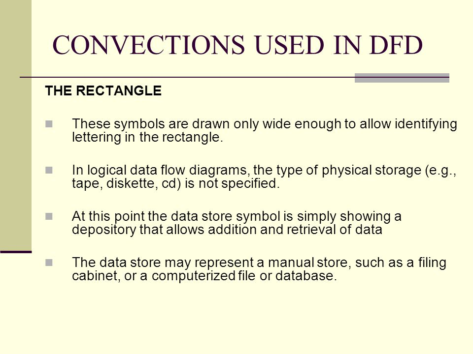 CONVECTIONS USED IN DFD